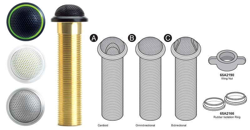 Низкопрофильный врезной конденсаторный микрофон, двунаправленный, алюминиевый цвет, 3-pin XLR MX395AL/BI