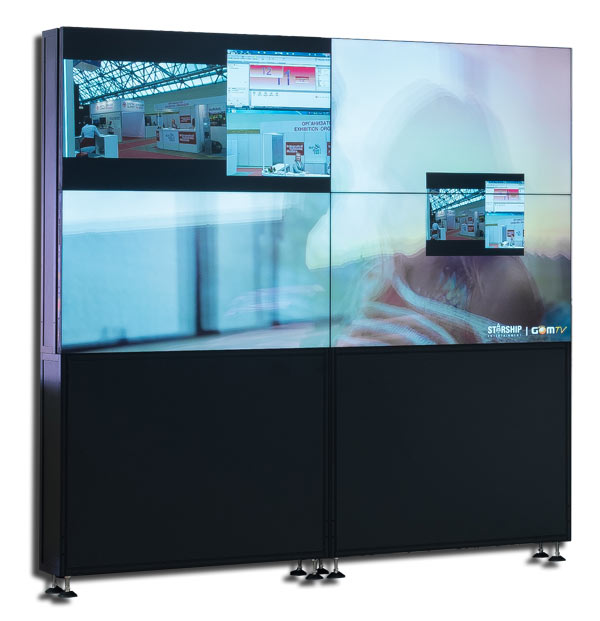 "Бесшовный ЖК дисплей Full HD 55"", межпанельный шов 2,3/1,2 мм, 1920х1080 пикс., 500 кд/м2, 4000:1, LED подсветка, угол обзора 178 град., входы VGA, DVI, HDMI, CVBS; 160 Вт TRD1055S7"